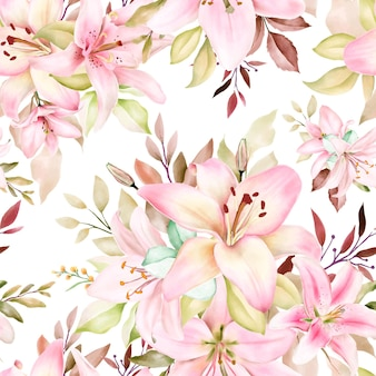 Schönes aquarell lilie nahtloses muster