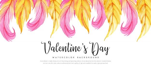 Schönes aquarell valentine banner