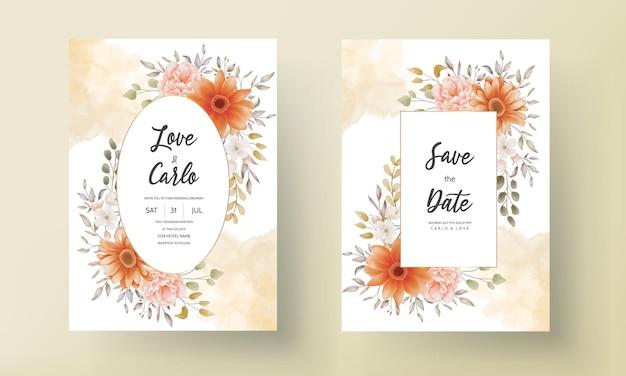 Schönes aquarellblumenhochzeitseinladungskartenschablonendesign