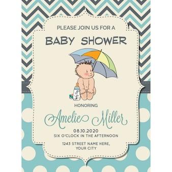 Schönes baby-dusche-karte mit kleinen baby unter regenschirm