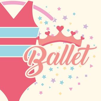 Schönes ballett kleidet rosa krone