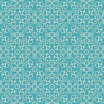 Schönes beige nahtloses retro-muster mit blumen und blättern auf einem türkisfarbenen hintergrund