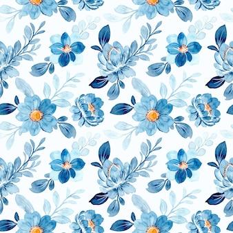 Schönes blaues blumenaquarell nahtloses muster
