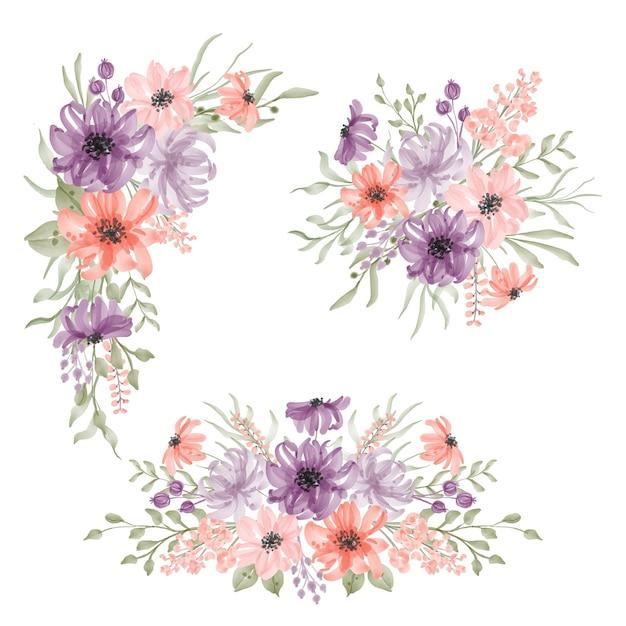 Schönes blumen-frühlings-arrangement-set