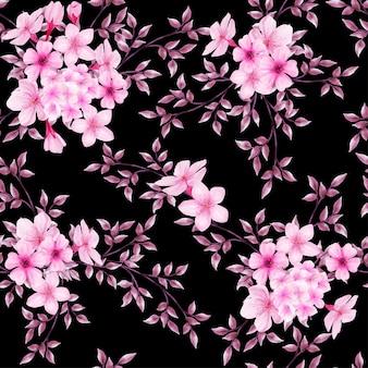 Schönes blumenaquarell verlässt nahtlose musterblüte