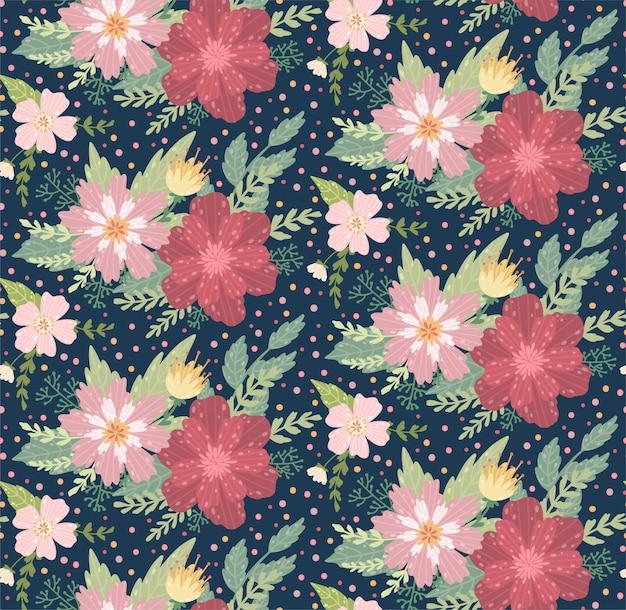 Schönes blumenmuster mit einer blume. floral nahtlosen hintergrund für mode drucke.