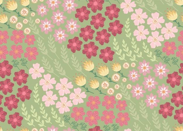 Schönes blumenmuster mit einer kleinen blume. floral nahtlos