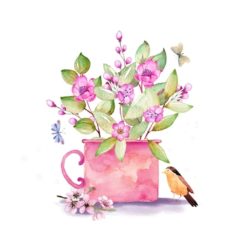 Schönes bouquet mit kirschblütenzweigen