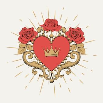 Schönes dekoratives rotes herz mit krone und rosen auf weißem hintergrund.