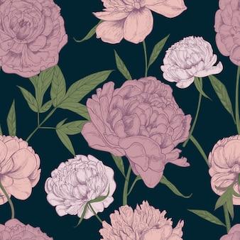 Schönes detailliertes nahtloses muster der pfingstrosen. hand gezeichnete blüten und blätter. bunte weinleseillustration.