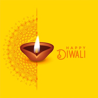 Schönes diwali gruß-kartendesign mit mandalakunst und diya