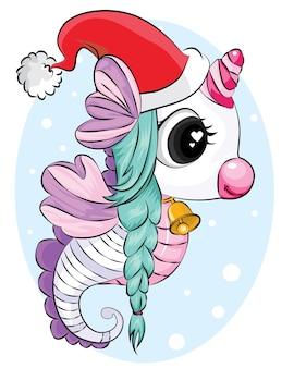 Schönes einhorn mit weihnachtsmütze und glockenhintergrund. weihnachtskartenillustration.