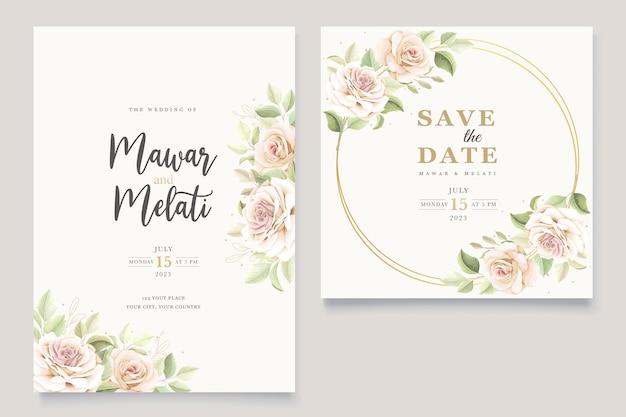 Schönes einladungskartenset mit weichen rosen