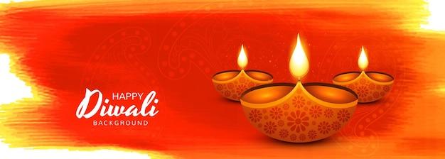 Schönes festival glückliches diwali-öllampen-banner-design