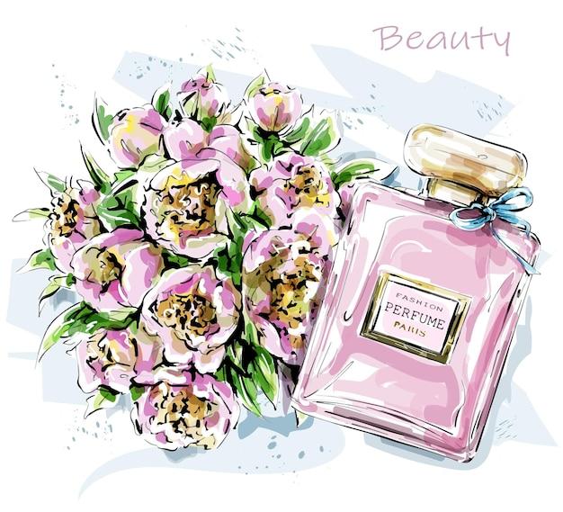Schönes flaches parfüm und blumen