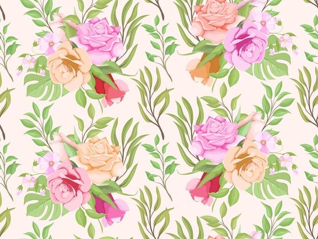 Schönes florales nahtloses musterdesign für mode und tapeten