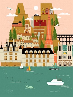 Schönes frankreich-reiseplakat mit berühmten sehenswürdigkeiten