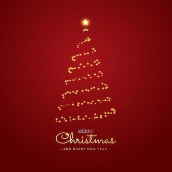 Schönes frohe weihnachten-banner mit baumlichtpartikeln