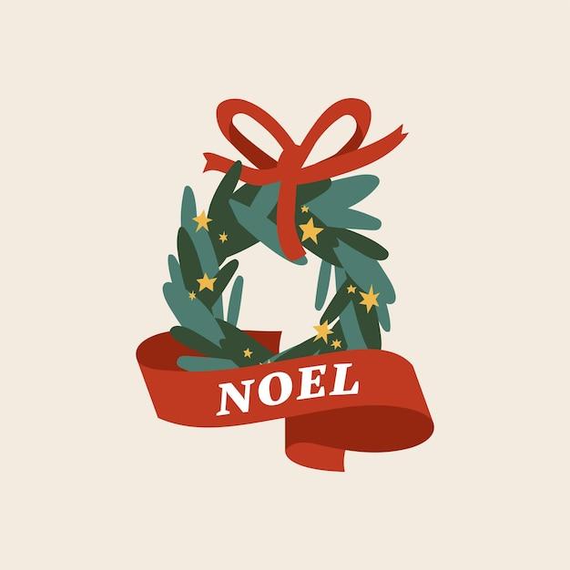 Schönes frohes weihnachtskonzept flaches design mit grünem kranz mit rotem band verziert. traditionelle weihnachtsdekoration.