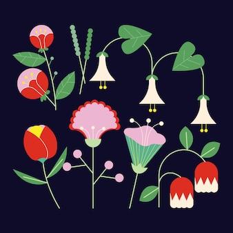 Schönes frühlingsblumenset