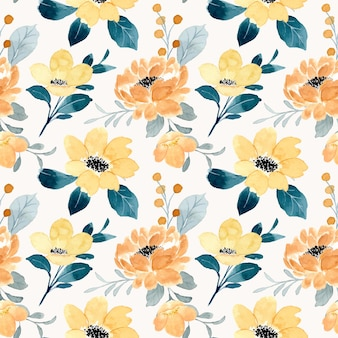 Schönes gelbes blumenaquarell nahtloses muster
