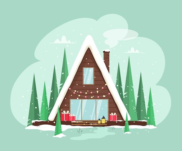 Schönes, gemütliches zuhause mit girlandenlichtern und geschenken dekoriert. fröhliche weihnachten. festliche einrichtung. illustration im cartoon-stil.