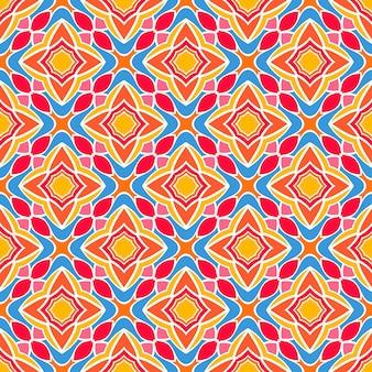 Schönes geometrisches retro-muster mit orange und gelben stilisierten blumen