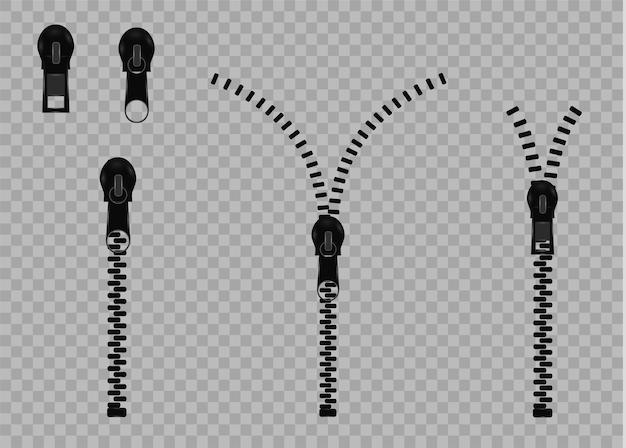 Schönes geschlossenes und offenes reißverschlussdetail des vektors