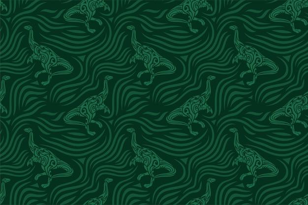 Schönes grünes nahtloses muster mit stammes-dinosaurier-silhouette auf der dunkelheit