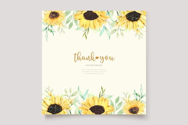 Schönes handgezeichnetes aquarell sonnenblumeneinladungskartenset