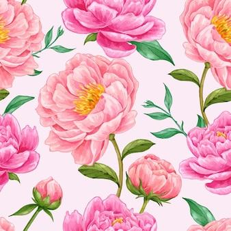 Schönes handgezeichnetes nahtloses muster der rosa pfingstrosenblume Premium Vektoren