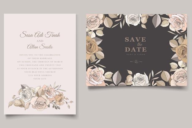 Schönes handgezeichnetes rosen- und lilienhochzeitseinladungskartenset
