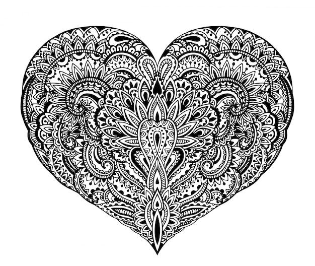 Schönes handgezeichnetes verziertes herz im zentangle-stil