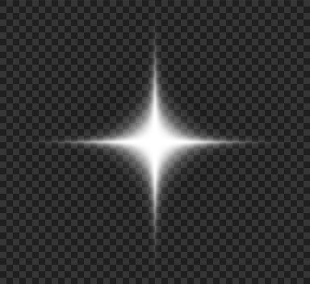 Schönes helles licht, weißer stern mit hellen strahlen, grafiken.