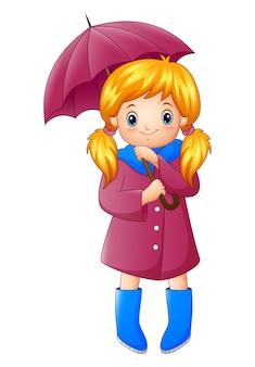 Schönes herbstmädchen, das regenschirm hält