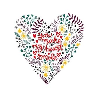 Schönes herz für den valentinstag. schriftzug du bringst mein herz zum lächeln.