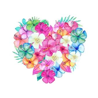 Schönes herz gefüllt mit aquarellblumen und -blättern