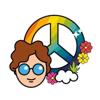 Schönes hippe emblem mit blumen design