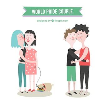 Schönes homosexuelles paar umarmte