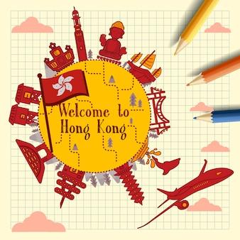 Schönes hongkong-reiseposter auf briefpapier