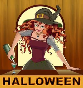 Schönes hübsches hexenmädchen der rothaarigen gießt cocktails halloween