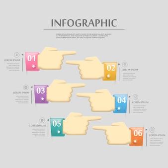Schönes infografik-schablonendesign mit handoptionselementen