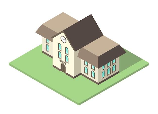 Schönes isometrisches schulgebäude außen auf grünem boden isoliert. bildungs- und lernkonzept. flaches design. eps 8-vektor-illustration, keine transparenz