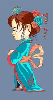 Schönes japanisches karikaturmädchen im kimono. gesicht im profil. junge geisha mit alten blauen kimono make-up maiko frisur schüchtern japaner mit geschlossenen augen auf der festival-vektor-illustration isoliert.
