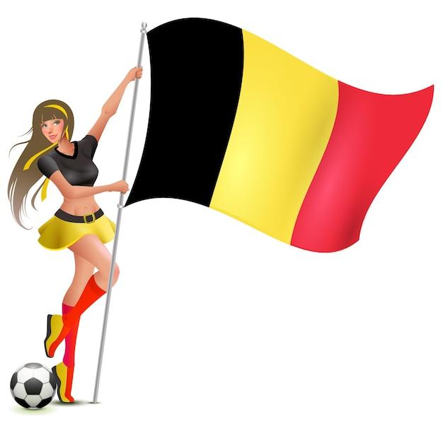 Schönes junges mädchen, das flagge von belgien hält. cheerleader des fußballfußballfans. isoliert auf weißer karikaturillustration