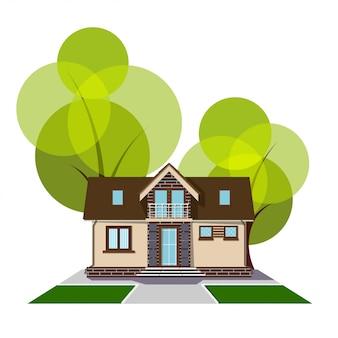 Schönes kleines haus mit dachboden, balkon und bäumen. gebäude mit dachboden, gleis und rasen. gemütliches landhaus mit zwischengeschoss