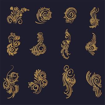Schönes künstlerisches goldenes dekoratives blumenset