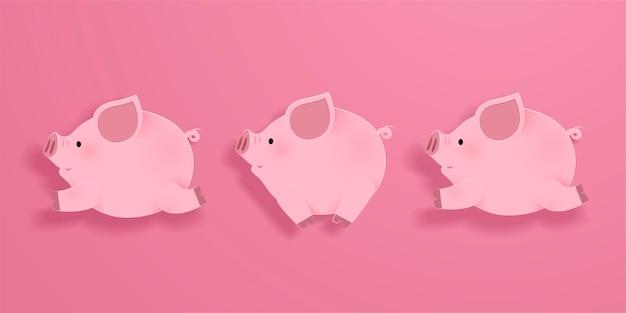 Schönes laufendes schweinchen auf rosa hintergrund