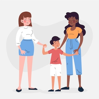 Schönes lesbisches paar mit einem kind illustriert