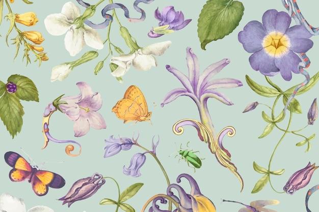 Schönes lila blumenmuster auf grünem hintergrund